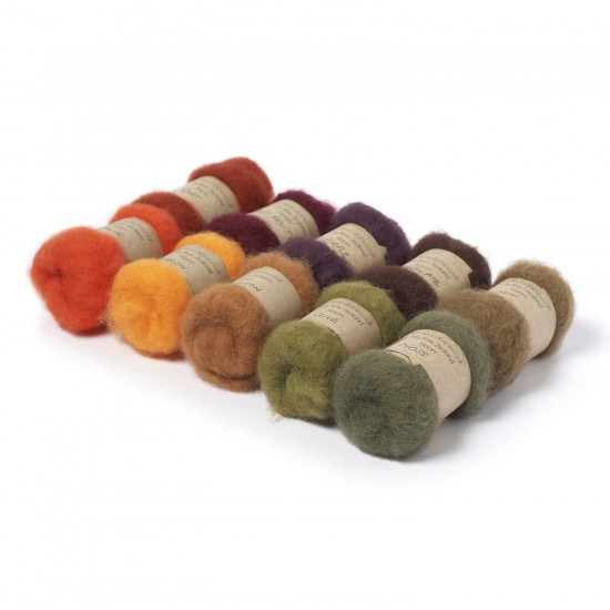 Carded New Zealand Maori Wool Box Set Autumn Hues