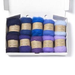 Carded New Zealand Maori Wool Box Set Blue and Purple Hues