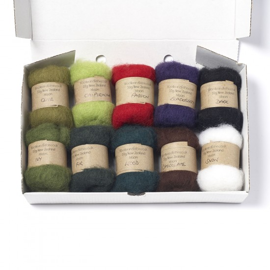 Carded New Zealand Maori Wool Box Set Christmas Hues
