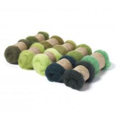 Carded New Zealand Maori Wool Box Set Green Hues