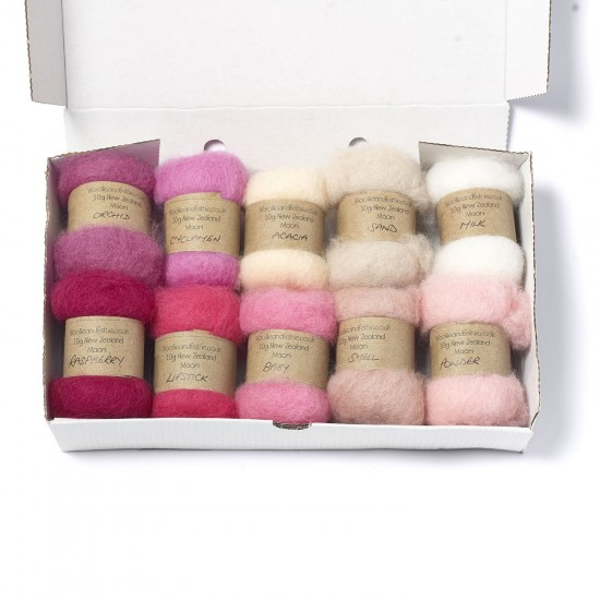 Carded New Zealand Maori Wool Box Set Pink Hues