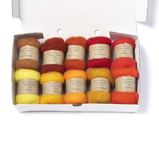 Carded New Zealand Maori Wool Box Set Sunset Hues