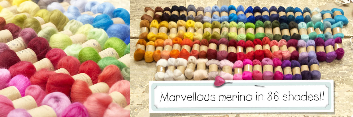 Merino felting wool in 86 colours