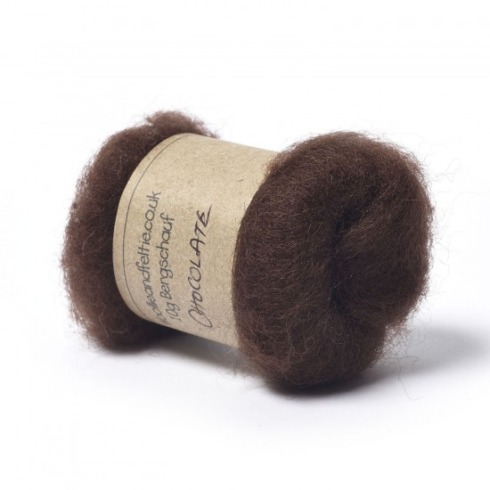 Carded Bergschaf Wool -Chocolate