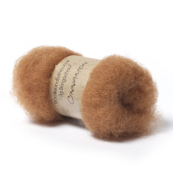 Carded Bergschaf Wool -Cinnamon
