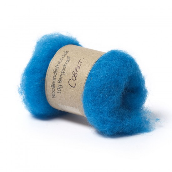 Carded Bergschaf Wool -Cobalt
