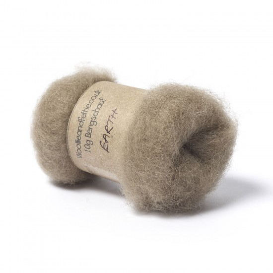Carded Bergschaf Wool -Earth