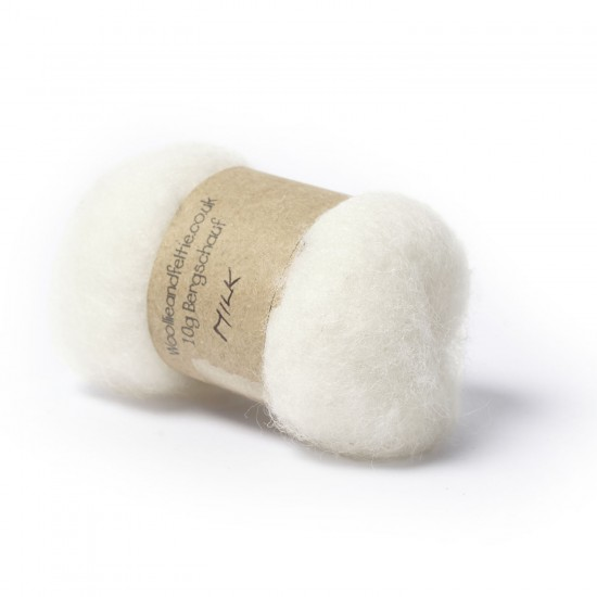 Carded Bergschaf Wool -Milk