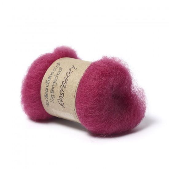 Carded Bergschaf Wool -Raspberry