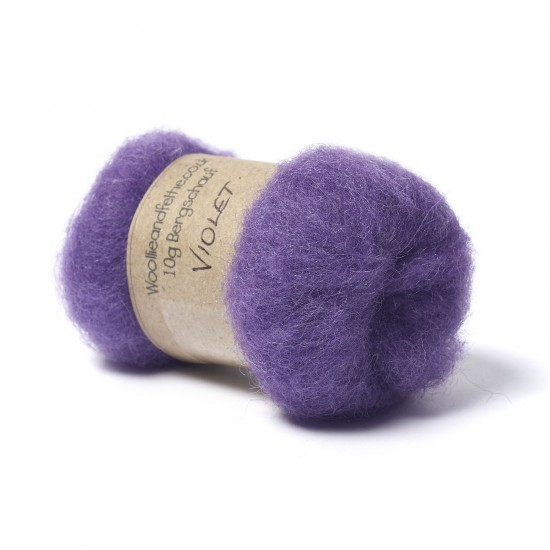 Carded Bergschaf Wool -Violet
