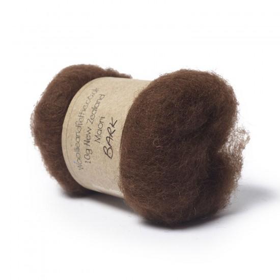 Carded New Zealand Maori Wool -Bark