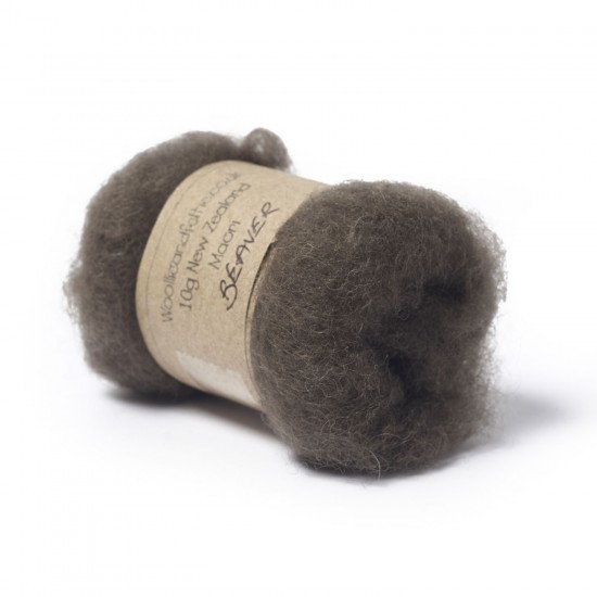 Carded New Zealand Maori Wool -Beaver