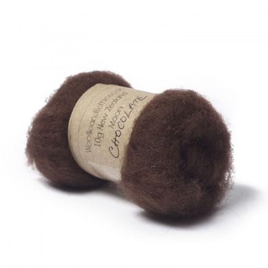 Carded New Zealand Maori Wool -Chocolate