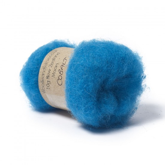 Carded New Zealand Maori Wool -Cobalt