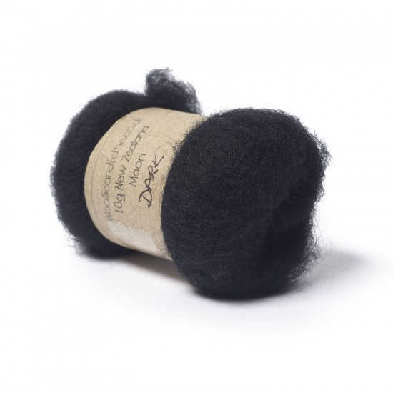 Carded New Zealand Maori Wool -Dark