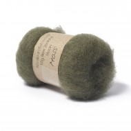 Carded New Zealand Maori Wool -Moss