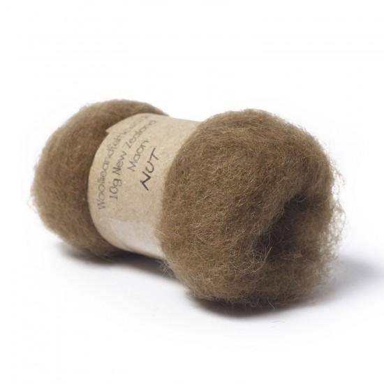 Carded New Zealand Maori Wool -Nut