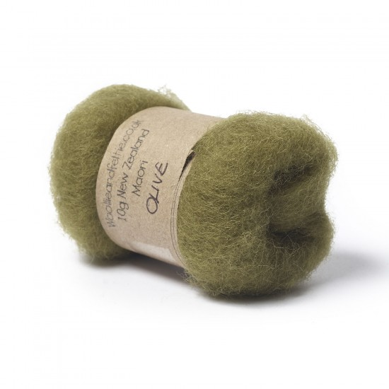 Carded New Zealand Maori Wool -Olive