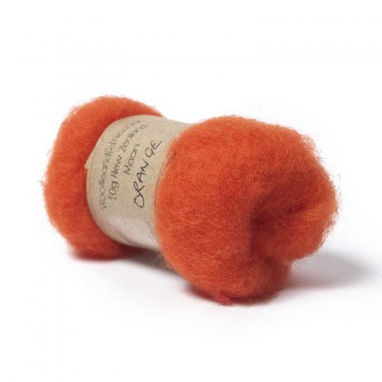 Carded New Zealand Maori Wool -Orange