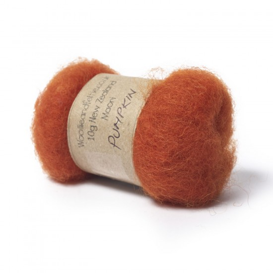 Carded New Zealand Maori Wool -Pumpkin