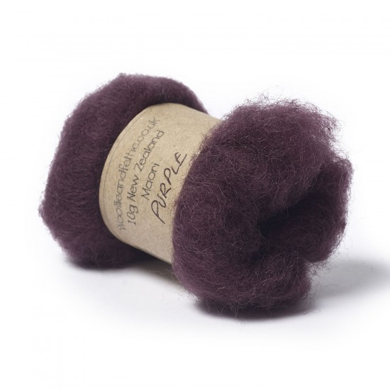 Carded New Zealand Maori Wool -Purple