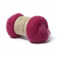 Carded New Zealand Maori Wool -Raspberry