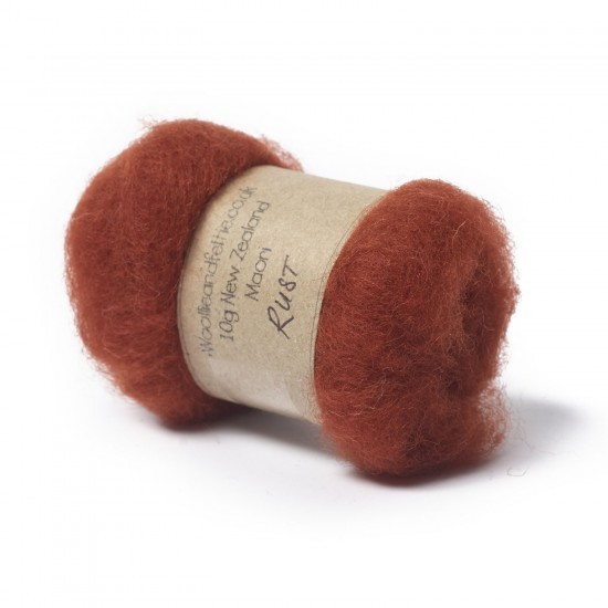 Carded New Zealand Maori Wool -Rust