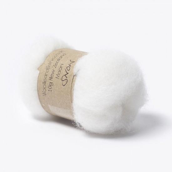 Carded New Zealand Maori Wool -Snow