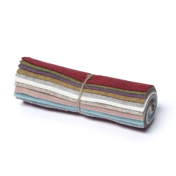 """Wool and Viscose Mix Mini Felt Roll 6"""" Square Beach and Colours"""