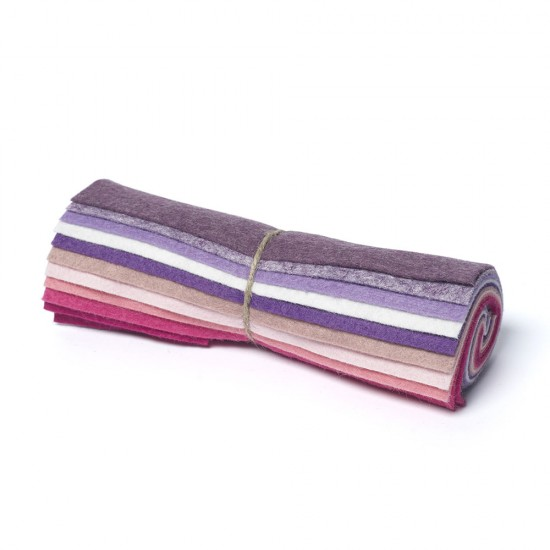 """Wool and Viscose Mix Mini Felt Roll 6"""" Square Pinks and Purples"""