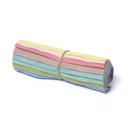 "Wool and Viscose Mix Mini Felt Roll 6"" Square Pastels"