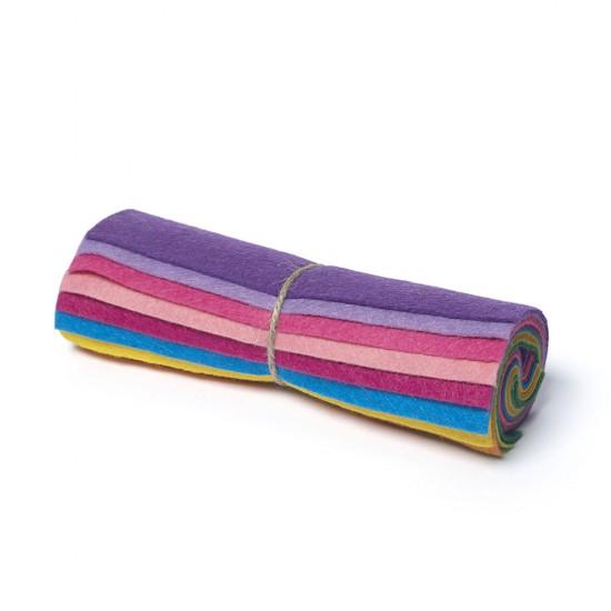 "Wool and Viscose Mix Mini Felt Roll 6"" Square Rainbow"