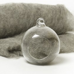 Carded Scandinavian wool 10 Grams -Grey 04