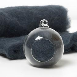 Carded Scandinavian wool 10 Grams -Sapphire Blue 15
