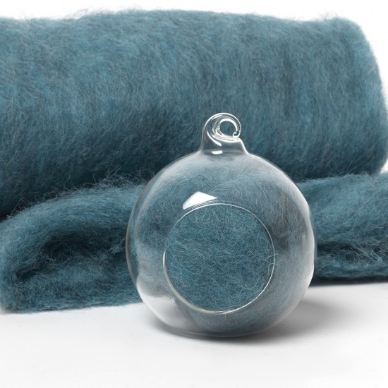Carded Scandinavian wool 10 Grams -Teal 18