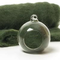 Carded Scandinavian wool 10 Grams -Rich Green 30