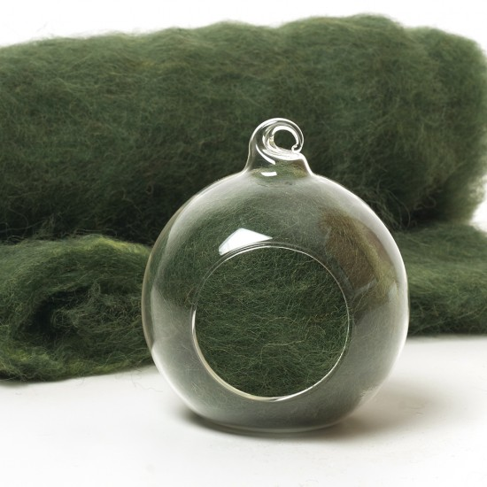 Carded Scandinavian wool 10 Grams -Rich Green 30