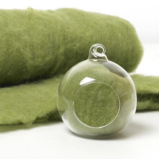 Carded Scandinavian wool 10 Grams -Oregano Green 34