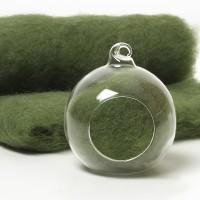 Carded Scandinavian wool 10 Grams -Basil Green 51