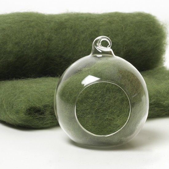 Carded Scandinavian wool 10 Grams -Basil Green 51