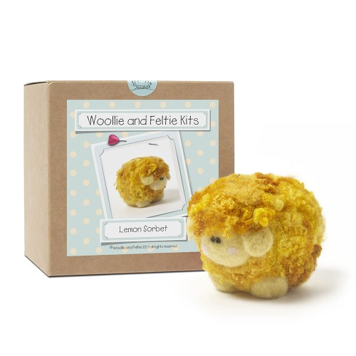 Lemon Sorbet ice cream woollie  needle felting kit
