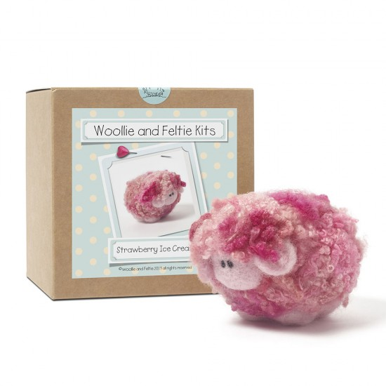 Strawberry ice cream woollie  needle felting kit