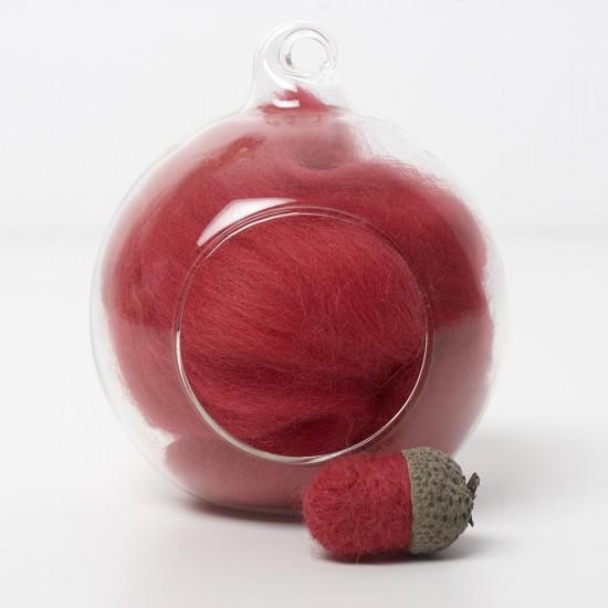 Merino red 25 wool top 10g