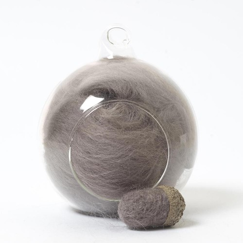 Merino neutral grey 77 wool top 10g