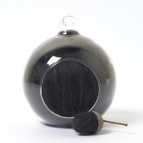 Merino neutral black 79 wool top 10g