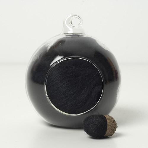 Merino neutral black 80 wool top 10g