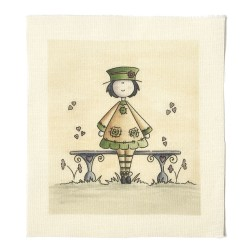 Illustrations on Calico-Dolly on a Bench