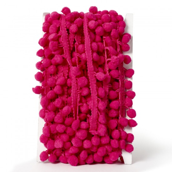 Pom-Pom Trimming 20mm-Cerise Pink- available by the meter