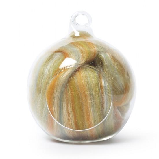 Merino and silk wool blends -Orange and Green 25 Grams