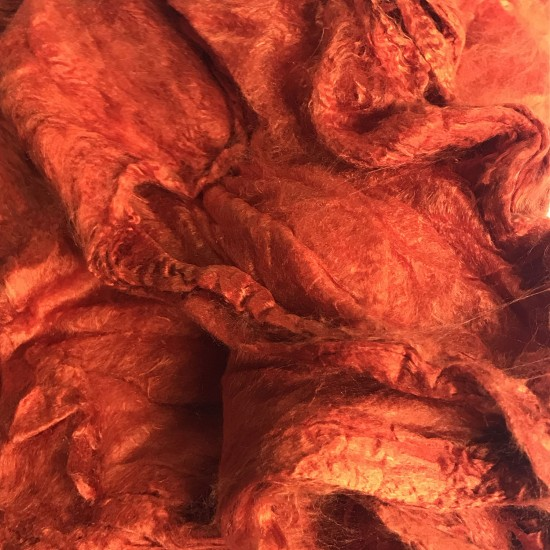 Mulberry Silk Hankies- Pumpkin Orange- approx 10 Grams